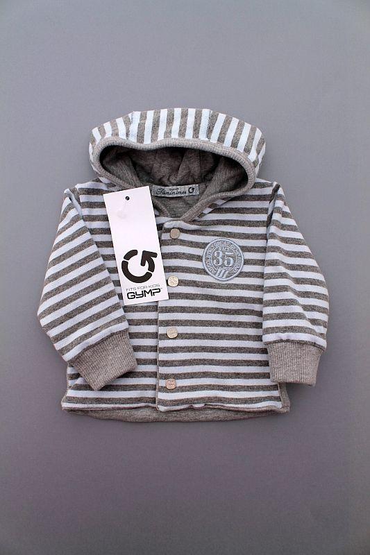 Cardigan à capuche chaud rayé bleu et gris bébé garçon 3 mois GYMP ... 93dd51cf69c