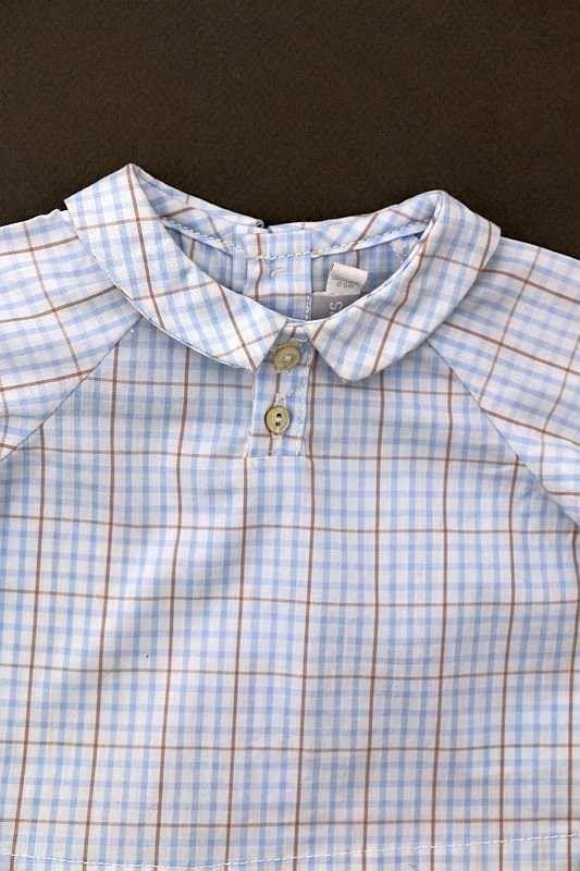 chemise col mixte neuve manches longues blanche ray bleu layette et beige habill e c r monie. Black Bedroom Furniture Sets. Home Design Ideas