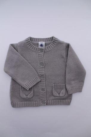 faa5b29eb01a6 Gilet tricot laine coton Petit Bateau. Petit Bateau. Gilet en tricot gris,  pour bébé fille 6 mois ...