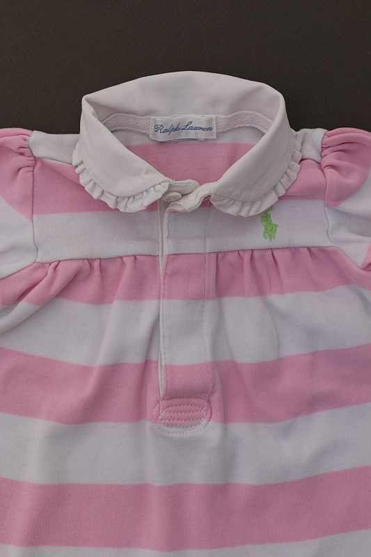 Ralph Lauren. Combinaison longue avec col polo blanc rayé rose, pour bébé  fille ... 1b7946f77dd