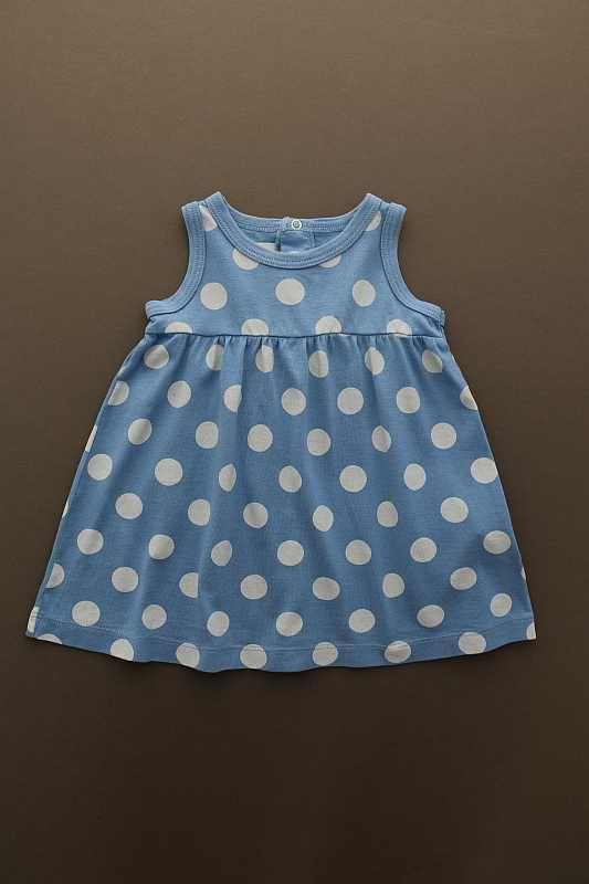 41b66d430d6f6 Robe de plage sans manches bleu à pois blancs légère été bébé fille ...