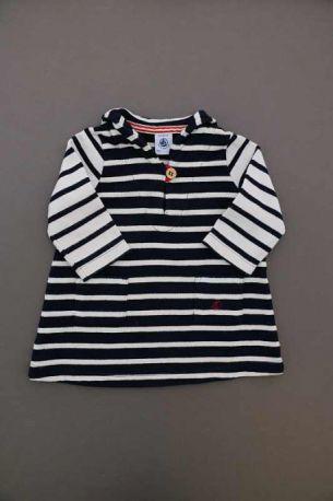 eeb806647bd11 Robe marinière en jersey de coton lourd bleu marine rayée écru mi ...