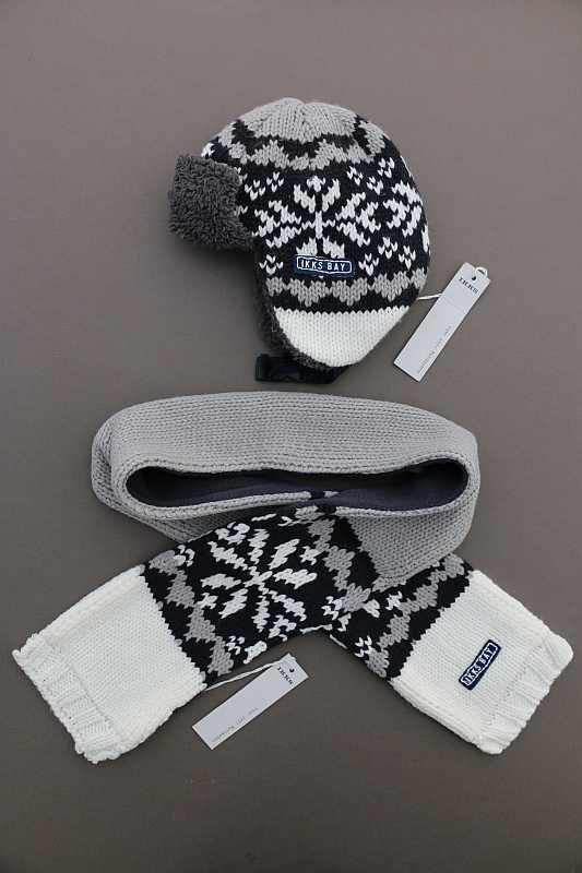 9336815f0dc Ensemble chaud hiver en tricot jacquard gris noir chapka bonnet et ...