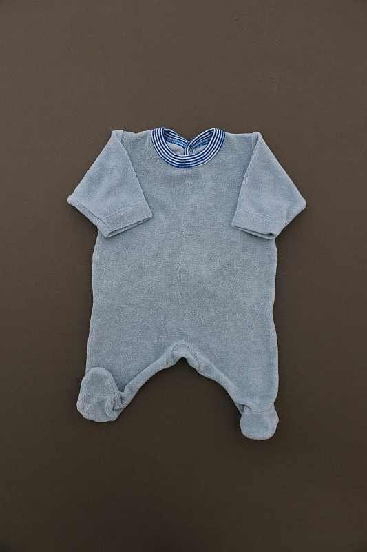 41994af39dd14 Pyjama en éponge bleu léger été bébé garçon prématuré Petit Bateau
