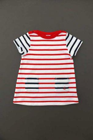 d777c3e083e0c Robe marinière à rayures blanc rayé rouge bleu marine à manches ...