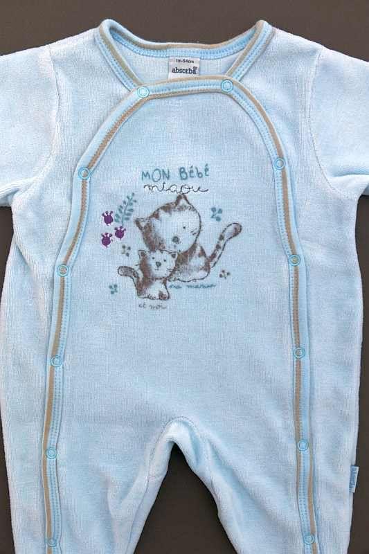 0c580c42d546 Set de maternité ensemble 3 pièces bleu layette rayé beige dors-bien ...